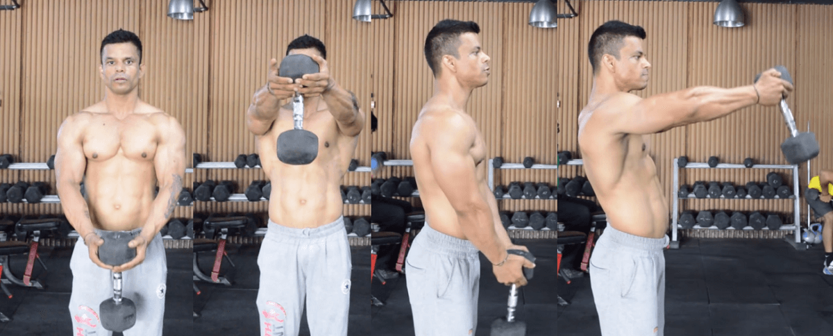 One dumbbell front raise