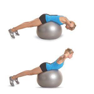 Pilates topu ile ters mekik