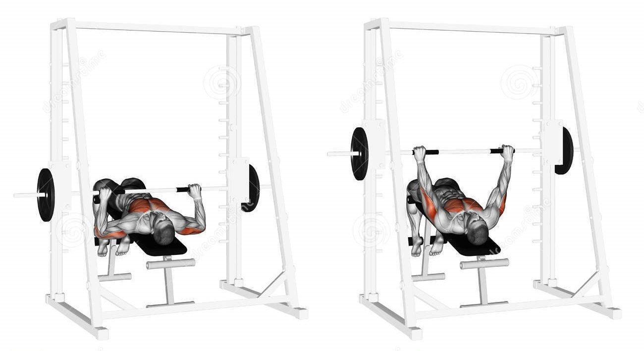 Smith machine decline barbell bench press